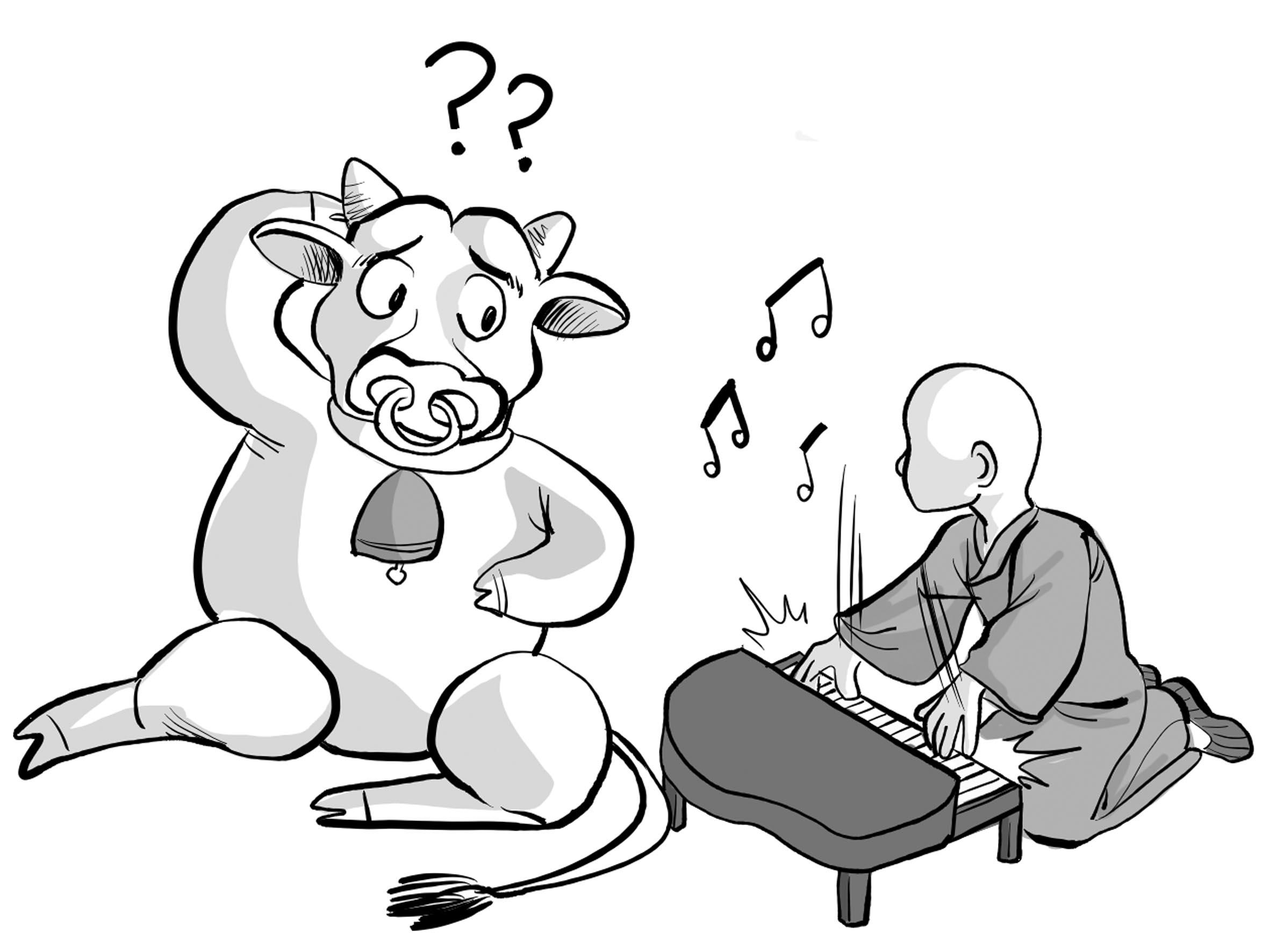 于是,公明仪又重弹了一曲通俗的乐曲,那牛听到好像蚊子牛绳,小牛叫声